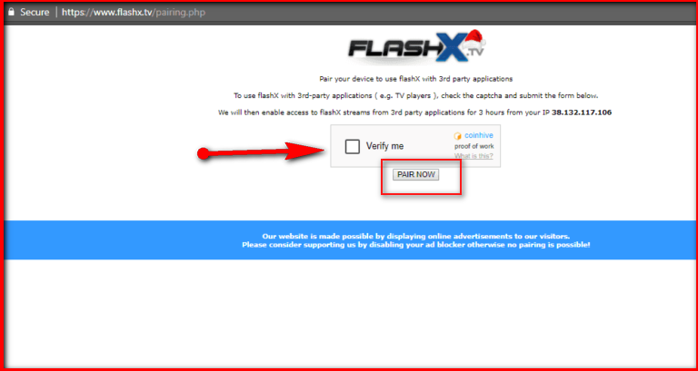 Flashx TV Pair Error On Kodi