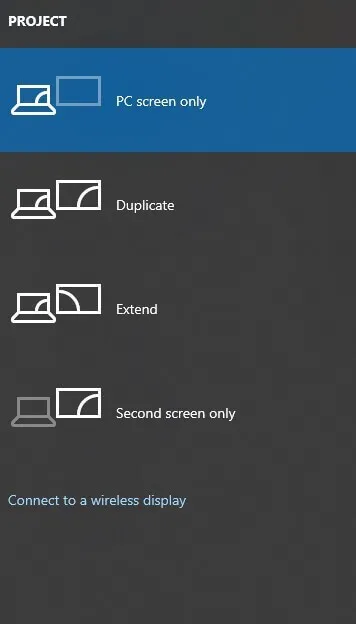 Connect to a wireless display option