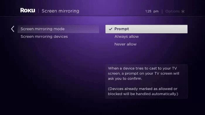 roku screen mirroring mode